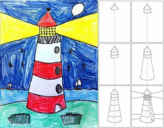 Belajar menggambar mercusuar untuk anak-anak