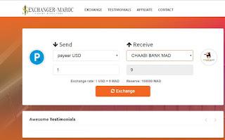 تحويل البتكوين الى الدرهم المغربي او تحويل الارصدة بين البنوك الالكترونية او العكس exchanger-maroc