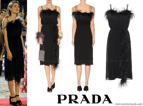 Charlotte Casiraghi wore PRADA Feather-trimmed silk dress