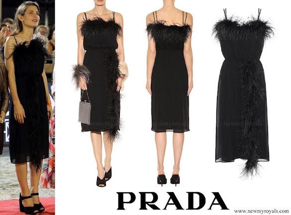 Charlotte Casiraghi wore PRADA Feather-trimmed silk dress