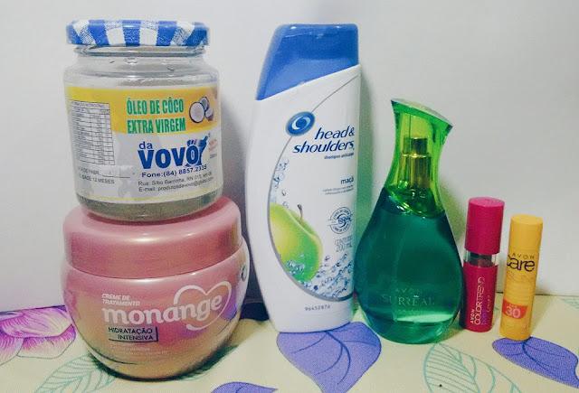shampoo para caspas, batom, oleo de coco