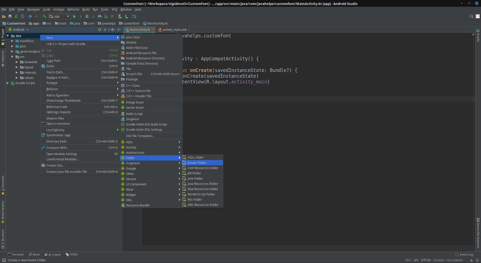 Android: Custom Font in Kotlin