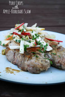 Pork Chops with Apple-Kohlrabi Slaw (The Gingered Whisk)