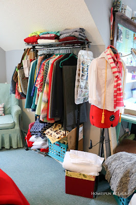 One Room Challenge Week 6 Home Office Sewing Craft Room Transformation rolling clothes rack