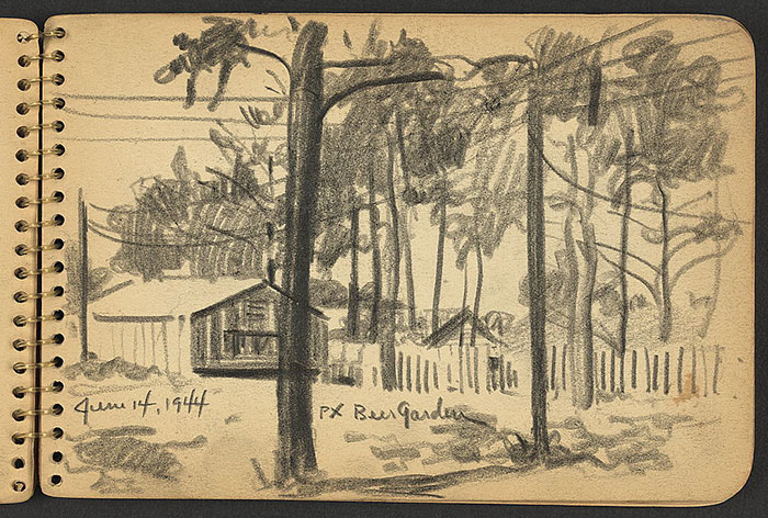 21-Year-Old WWII Soldier's Sketchbooks Show War Through The Eyes Of An Architect - Beer Garden, Fort Jackson, South Carolina