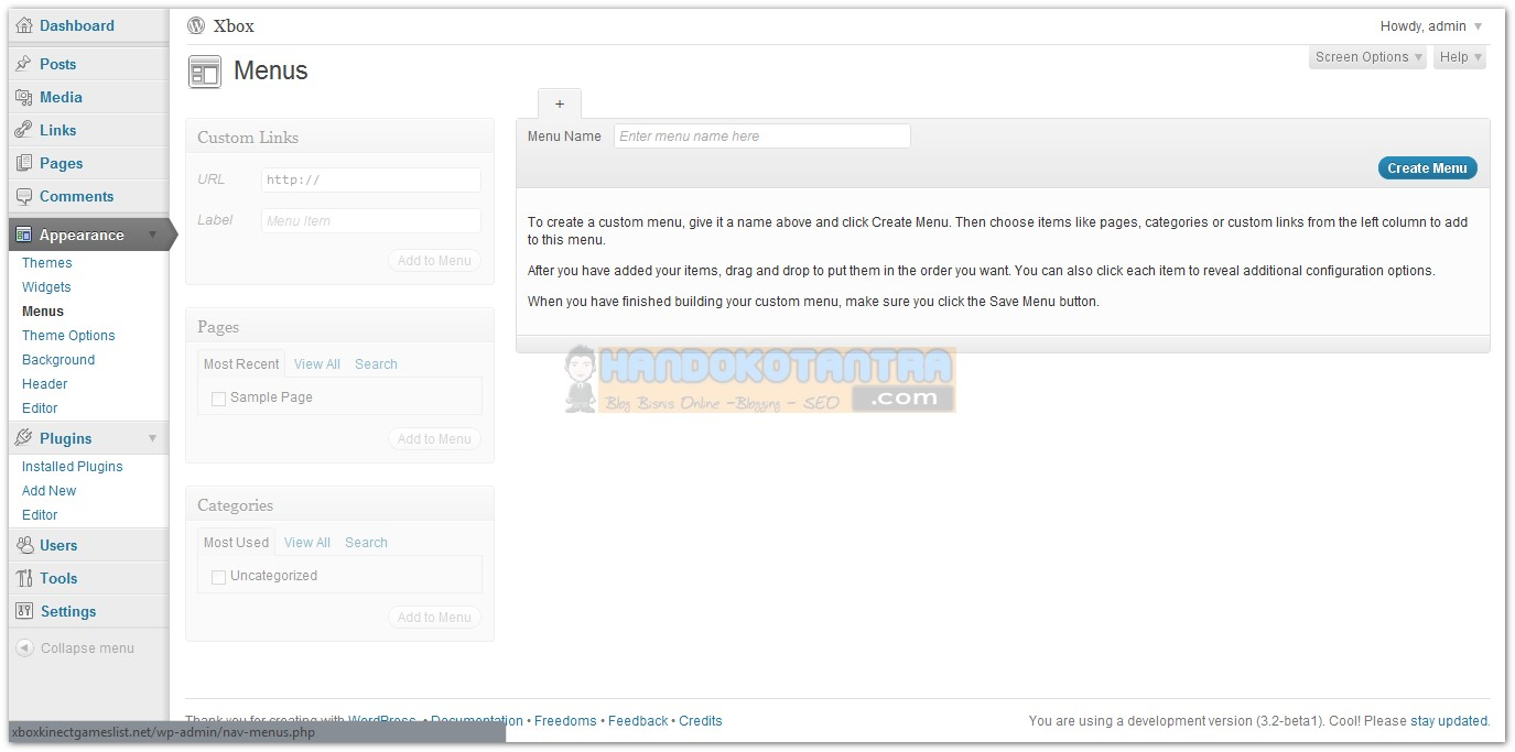 Tampilan Menus WordPress versi 3.2