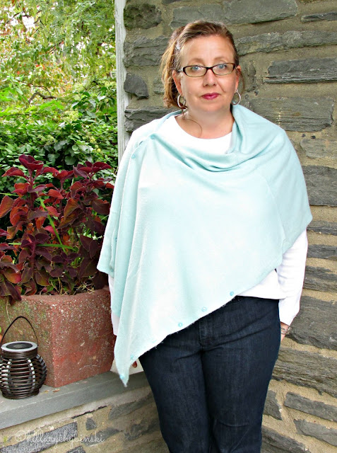 Aqua Poncho/Scarf Styled for Casual Fall