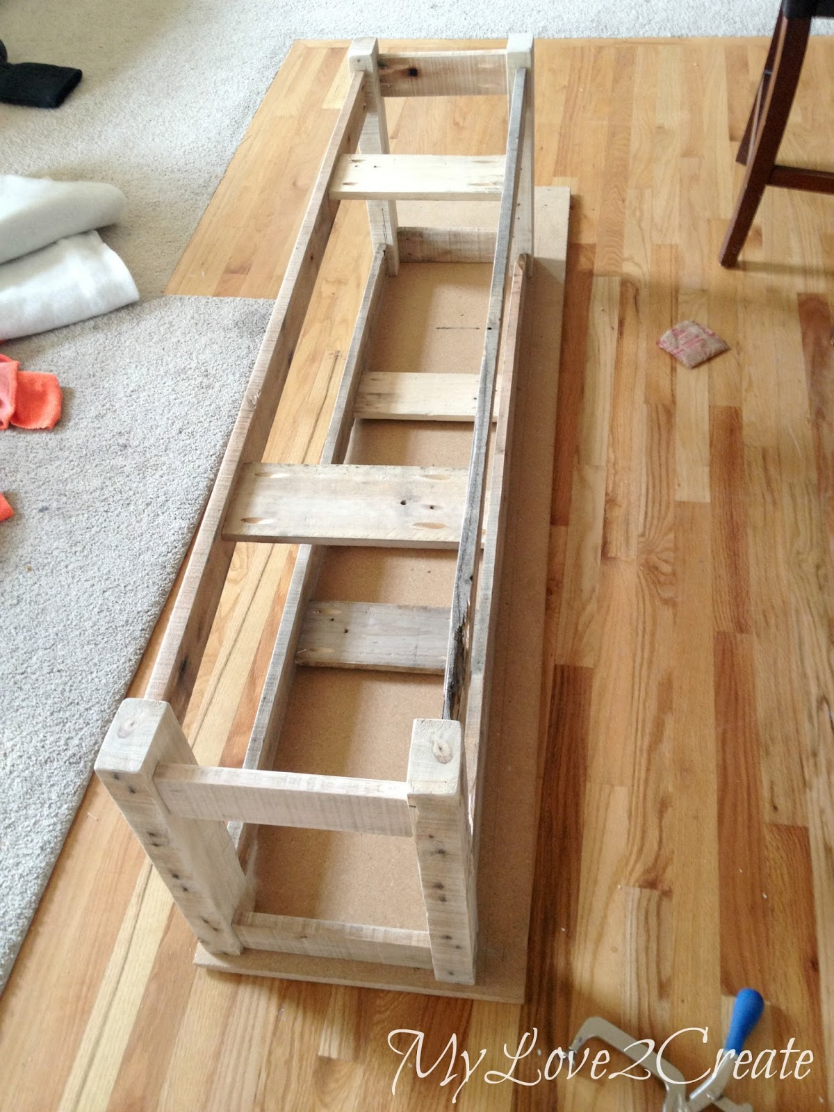 adding support boards and measuring top board for bench