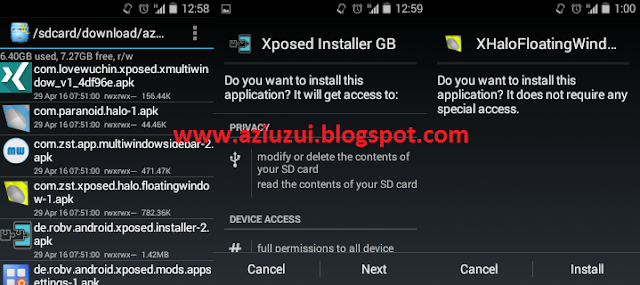Xposed Installer GB apk, XHalo Floating apk, Multiwindow Slidebar apk, XMultiwindow apk