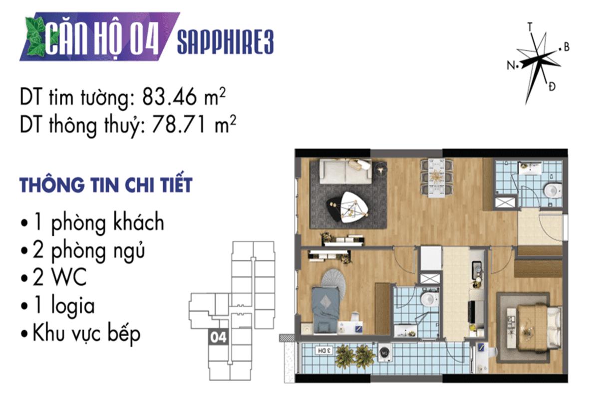 Mặt bằng căn hộ 04 tòa Sapphire 3