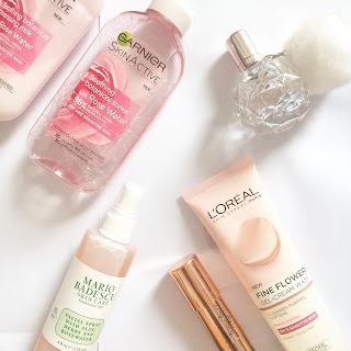 skin care routine, skin products, beauty, Garnier, Mario Badescu, L'oreal, Tnya Burr, Ariana Grande, fragrance, contour stick, rose water, cleansing milk, toner, face wash,