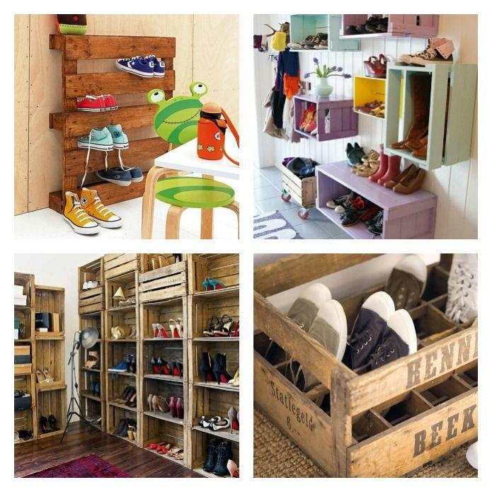 Palés y cajas de madera para ordenar zapatos