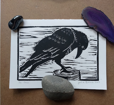 black crow linocut relief print art card