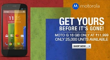Back in Stock: MOTO-G (16GB) 1st Generation @ reduced Price Rs.9999 Only @ Flipkart