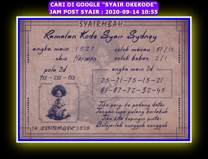 Kode syair Sydney Senin 14 September 2020 48
