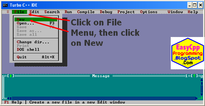 Easyway C++ -click on the File menu and select New option to create a new file for writing a C / C++ program