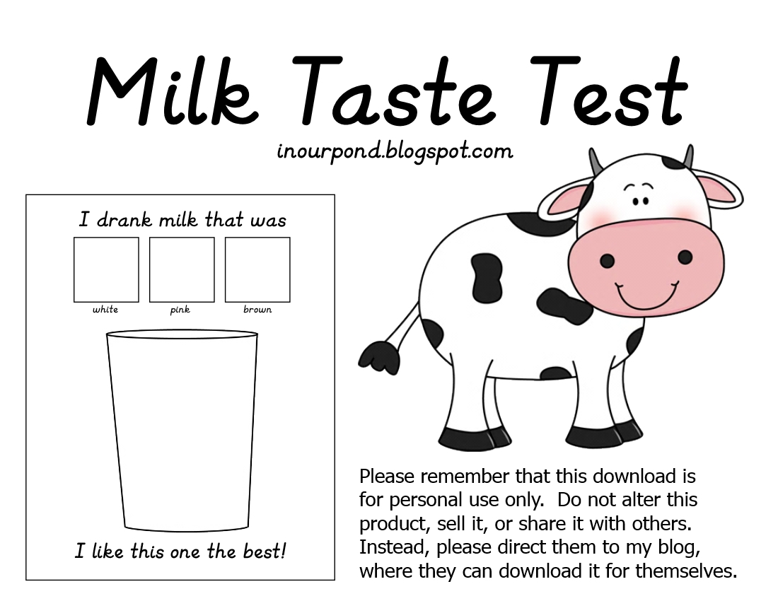 Science Notebook Printable Milk Tasting