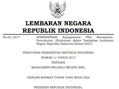 PP no 11 tahun 2017 tentang manajemen PNS