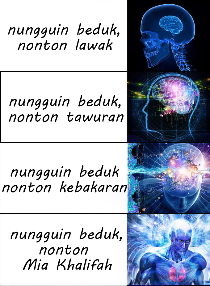 Meme Lucu Brain Expanding  nungguin beduk