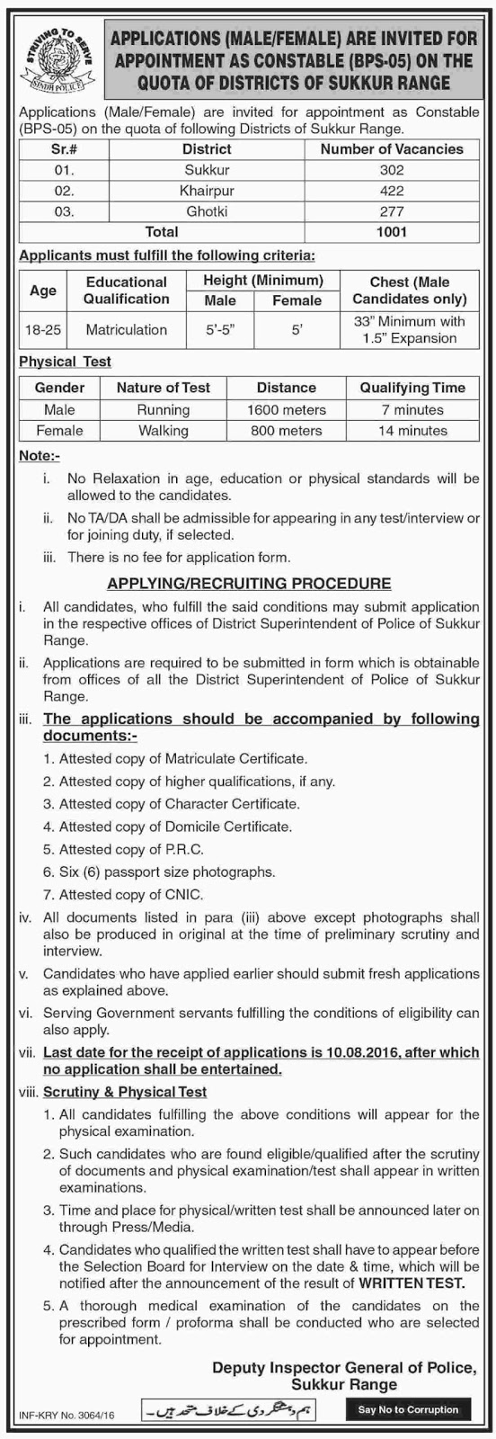 Police Constable Jobs in Pakistan in Sukkur, Khairpur & Ghotki