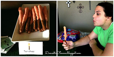 Minecraft Birthday Party: Torches Chocolate Covered Pretzel Rods #Parties #Birthdays #DIY #Character #Characters #Supplies #Idea #Ideas #TNT #Twizzlers #Torches #Chocolate #Dipped #Pretzel #Pretzels #Rods #Rods #Dirt #Brownie #Brownies #Coal #Rice #Krispies #Treats #Krispie #Crispie #Crispies #Zombie #Zombies #Boogers #Booger #Popcorn #Corn #Candy #Stickers #Enderman #Steve #Creeper #Printables #Printable #Cake #Instruction #Instructions #Instuctable #Instructables #Tutorials #Ghost