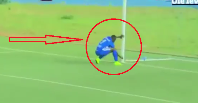 Football player in Rwanda performs witchcraft during soccer game and scores a goal a few seconds later