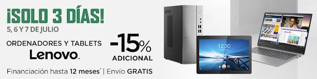Top 10 ofertas ¡Solo 3 días, -15% adicional ordenadores y tablets Lenovo! de El Corte Inglés
