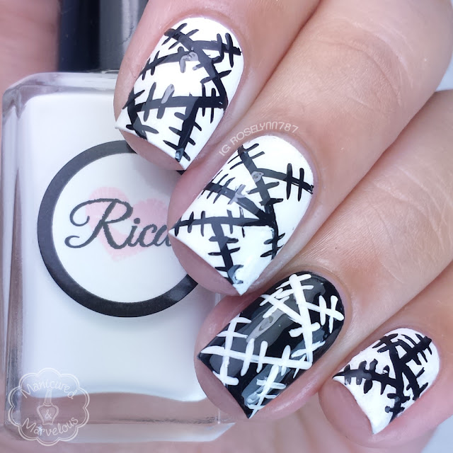 40 Great Nail Art Ideas - Black & White Patchwork