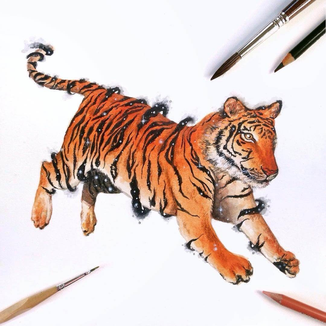 09-Tiger-David-Ambarzumjan-Cosmic-Space-Fantasy-Animal-Drawings-and-Paintings-www-designstack-co