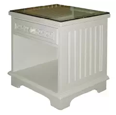 Outdoor Furniture, Wicker Nightstand, Wicker Outdoor Furniture, Cottage White Wicker and Wood 1 Drawer Nightstand with Glass Top
