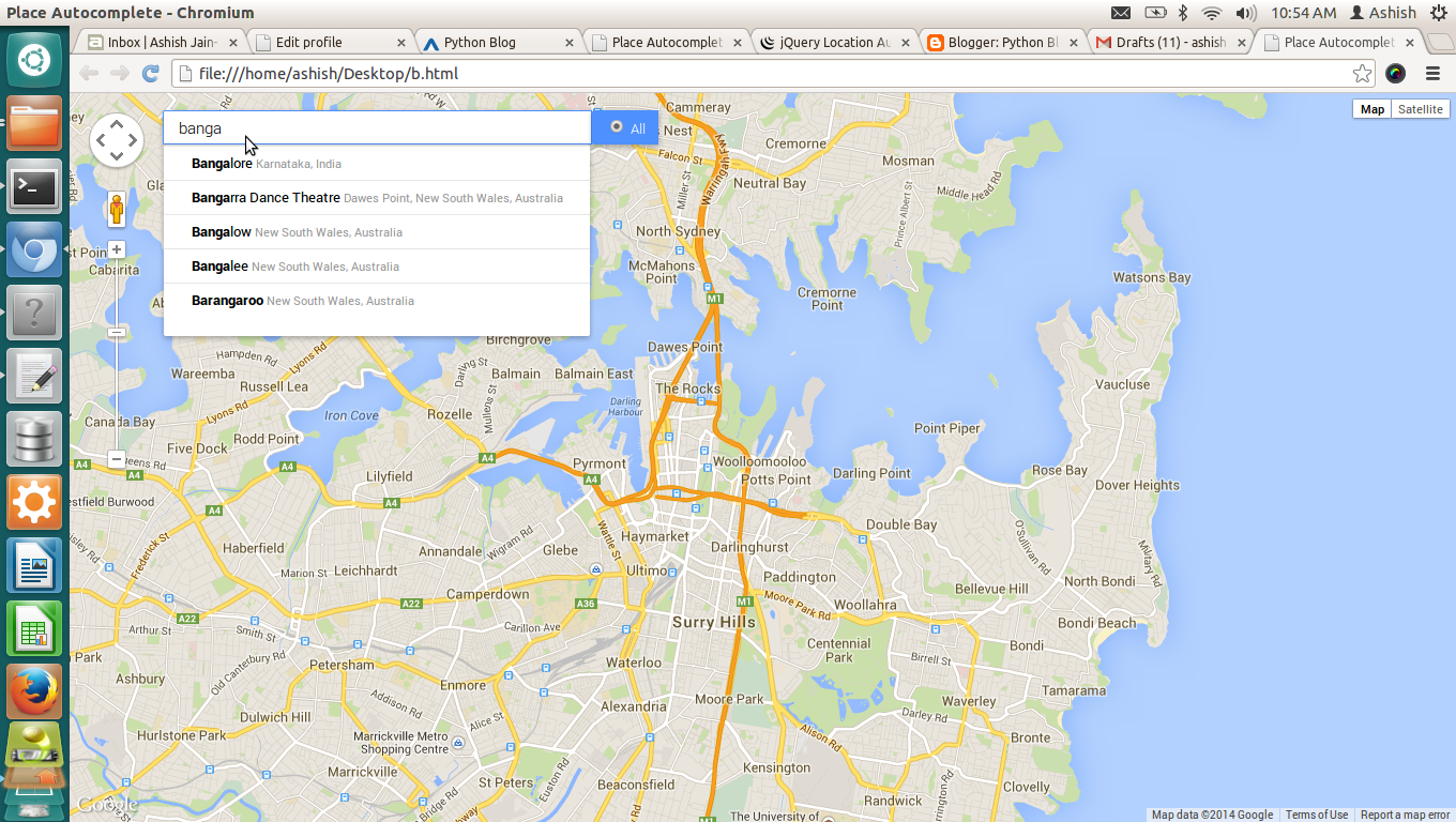 Python Blog: jQuery Location Autocomplete with Google Maps Places