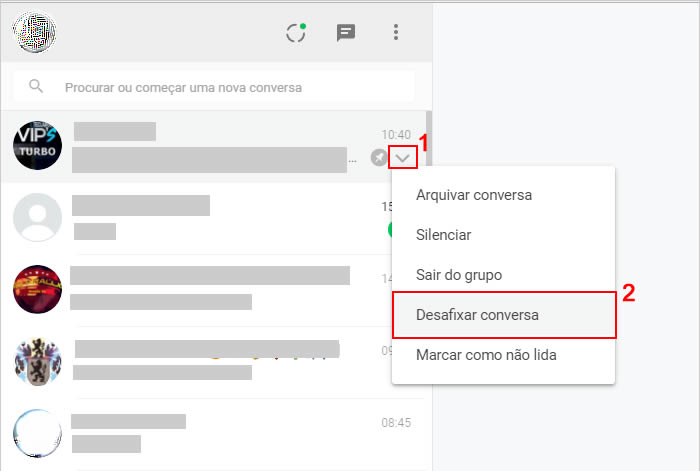 Desafixar conversas no WhatsApp web ou WhatsApp para PC
