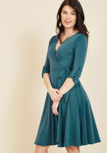 Timeless Wrap Dress in Peacock
