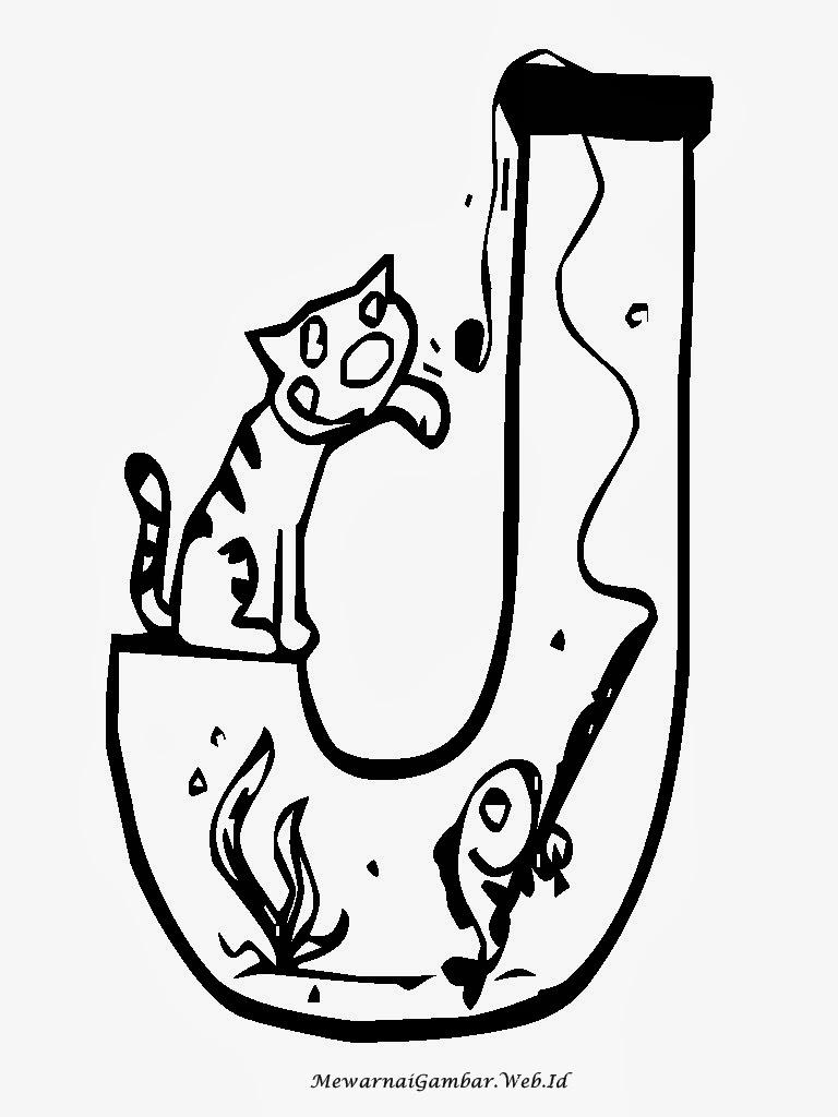 Gambar Mewarnai Huruf Abjad Ber a Akuarium Gambar Aquarium Keren