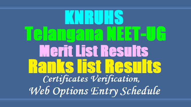 Telangana NEET UG 2018 Merit list Results