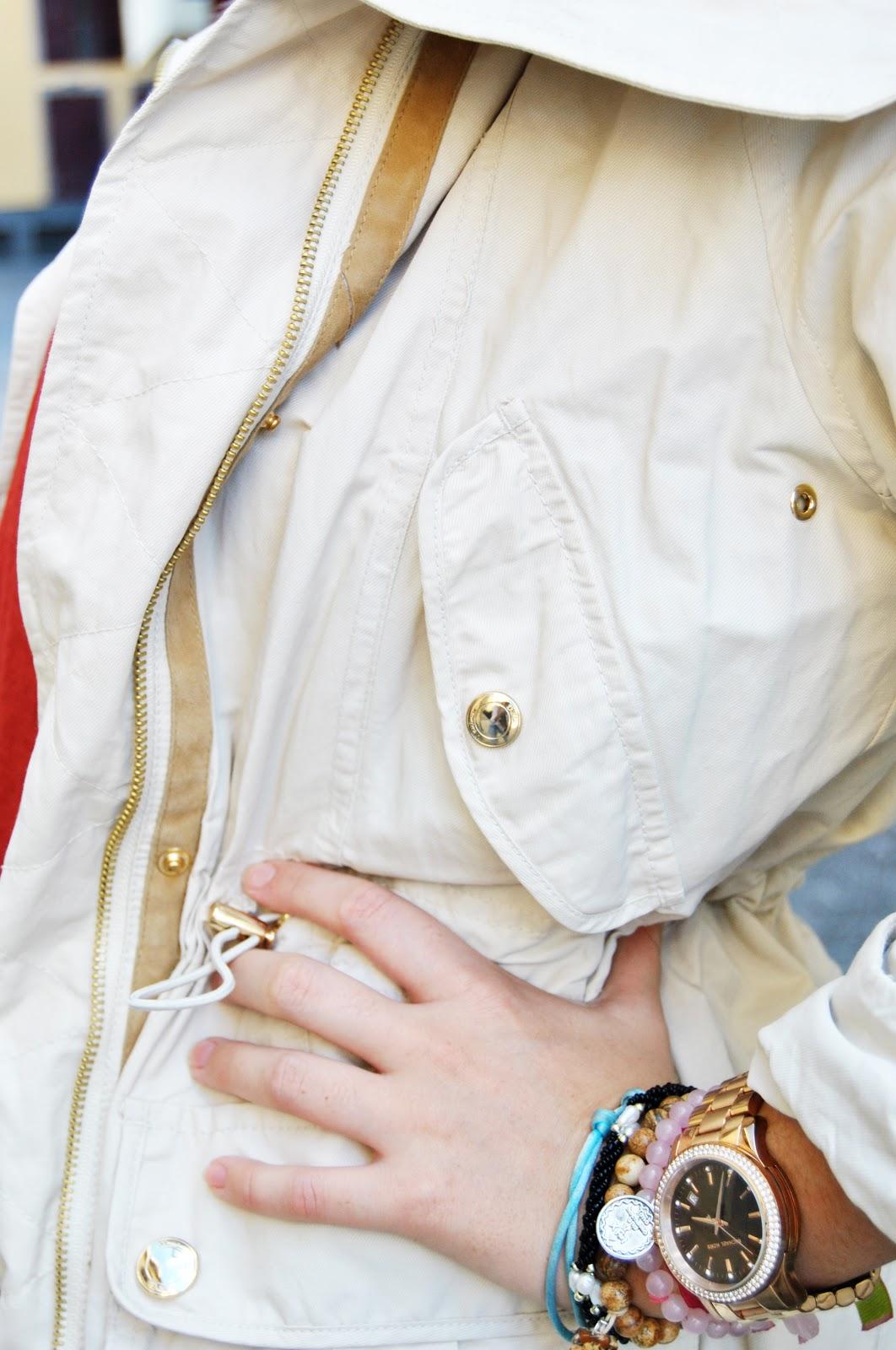 nery hdez, aviator style, parka, white pants