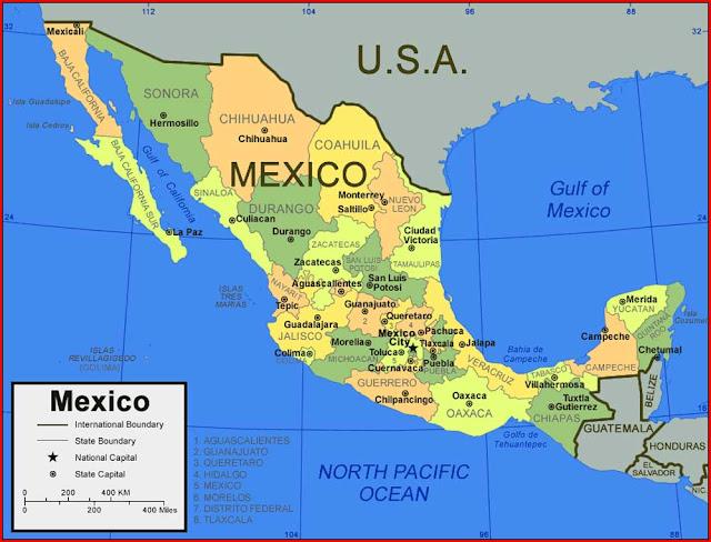 Gambar Peta Negara Bagian Meksiko