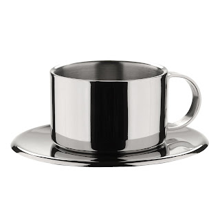 Set of 4 Stainless Steel Espresso Cups and Saucers by Miu France