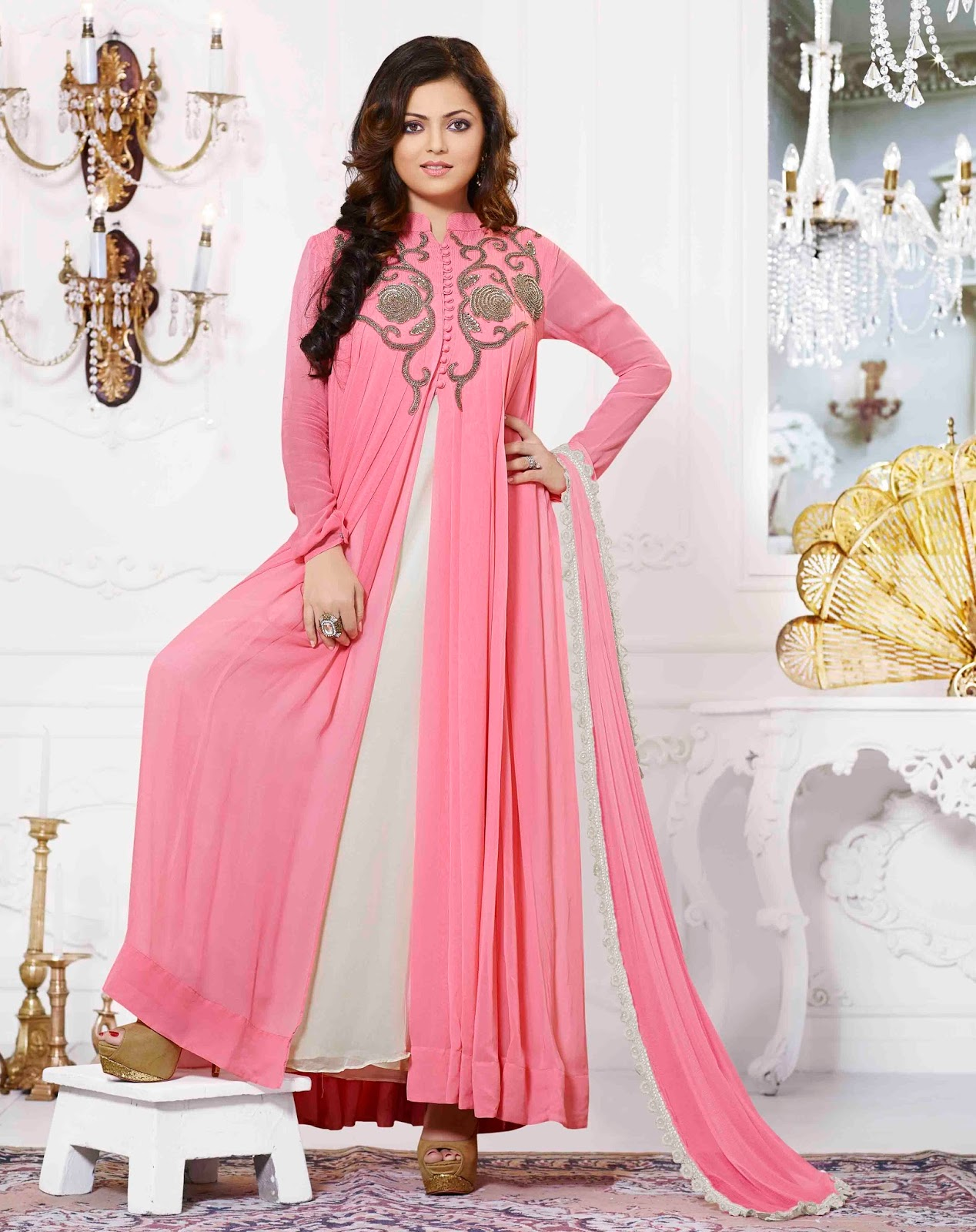 Pink Georgette Jacket Style Anarkali Suit With A Chiffon Dupatta