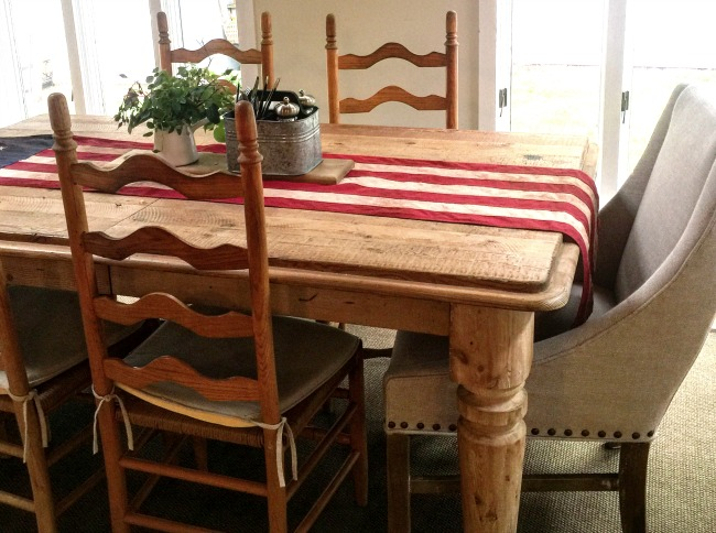 American Flag on wooden table.