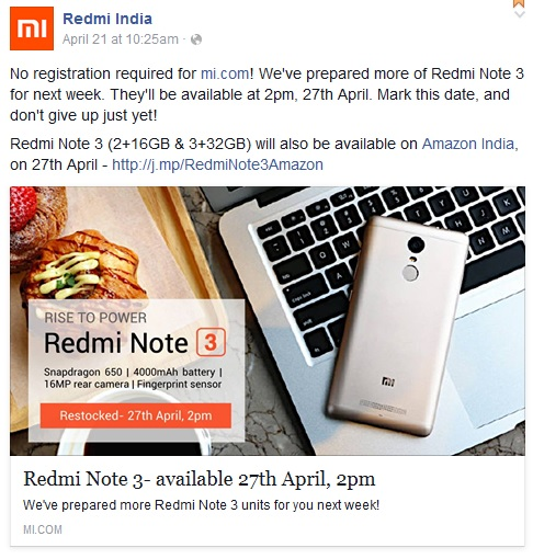 Redmi Note 3 (2GB RAM+16GB ROM & 3 GB RAM+32GB ROM) Open Sale on Mi India