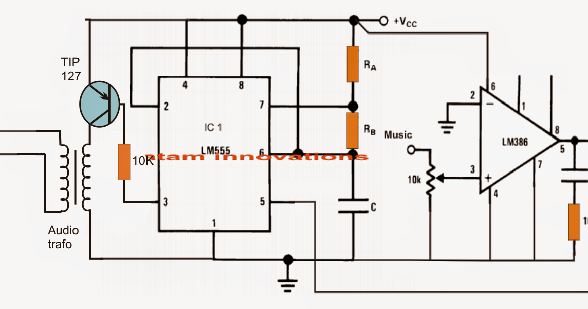 class d amplifier circuit using ic 555 electronic circuit projects
