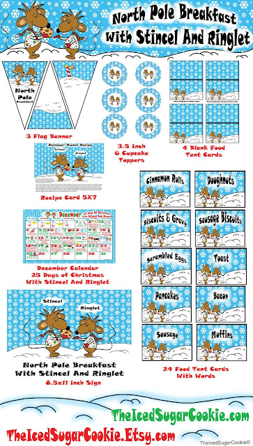 North Pole Breakfast With Strincel And Ringlet Christmas Party Printables- DIY Ideas For A New Christmas Tradition Digital Download Mice Mouse Wearing Ugly Christmas Sweater and scarf holding chocolate chip cookie Christmas Calendar Activity Planner for 25 Days of Christmas Food Label Tent Cards Table Sign Flag Banners Cupcake Toppers or Food Toppers Recipe Card