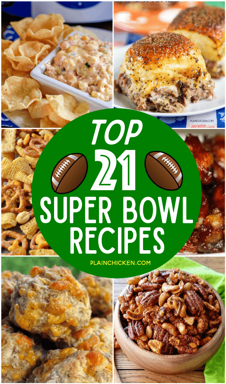 Top 21 Super Bowl Party Recipes - the best of the best on Pinterest! Something for everyone!! Dips, sandwiches, sausage balls, mixed nuts, snack mix. You will definitely score a touchdown with these recipes!!! #superbowl #football #superbowlparty Sponsored by Glass Barn