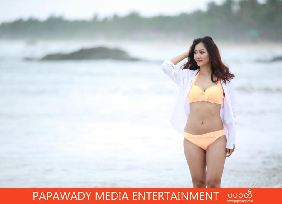 Orange Lady Lu Lu Aung In Swim Suit Fashion Photoshoot