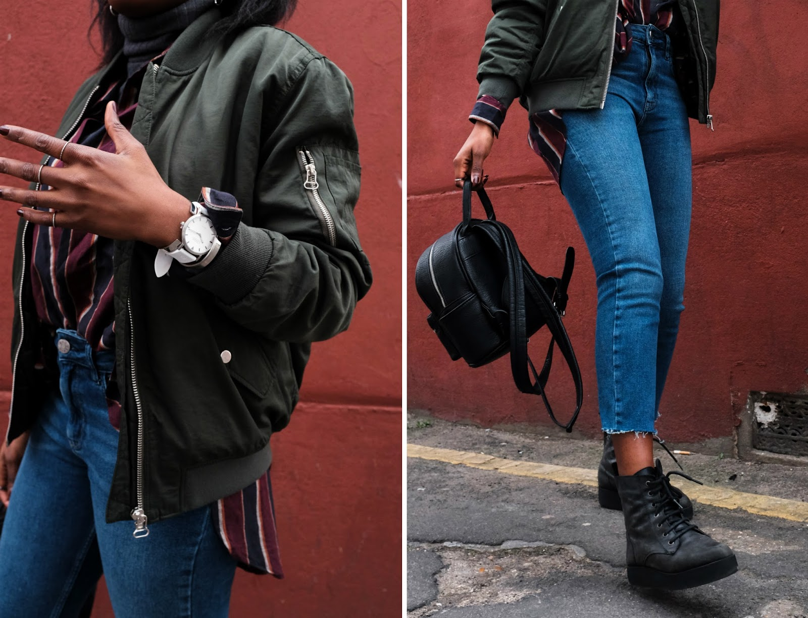 Urban Outfitters Khaki Bomber Jacket  Grey Turtleneck Top  BDG Girlfriend Jeans Black Silver Zip Backpack