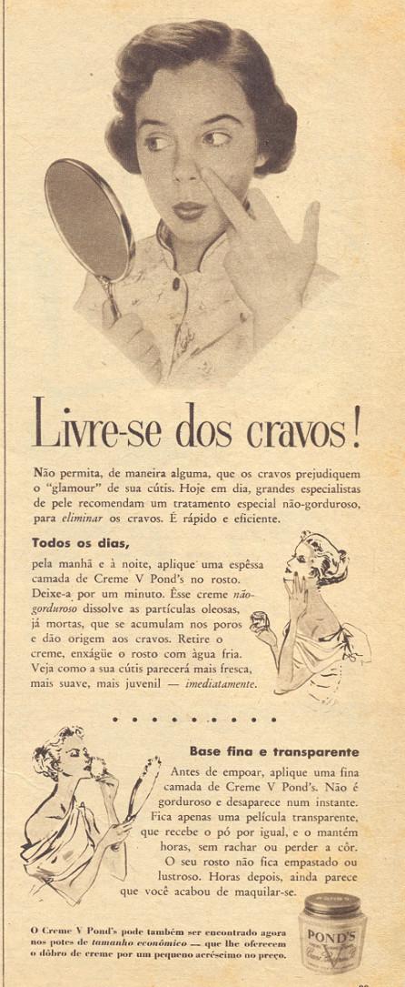 Propaganda antiga do creme facial V Pond's para combater os cravos em 1956
