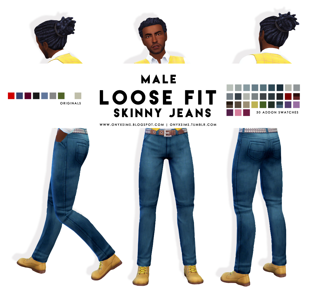 The Black Simmer: Male Loose Fit Skinny Jeans By Onyx Sims