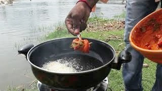 Chicken 65 making in ATHAANI RIVER
