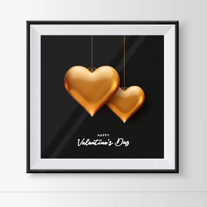 Golden heart valentines day greeting card free vector